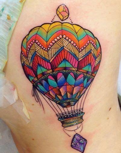 hot jewel tattoo gorgeous jewel tone hot air balloon tattoo