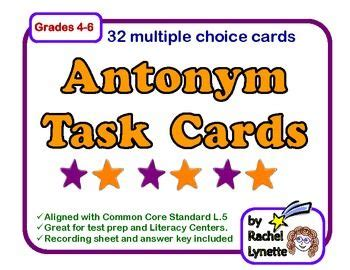 Lynette Task Card Template by Task Cards 32 Free Cards For Practicing Antonyms Grades