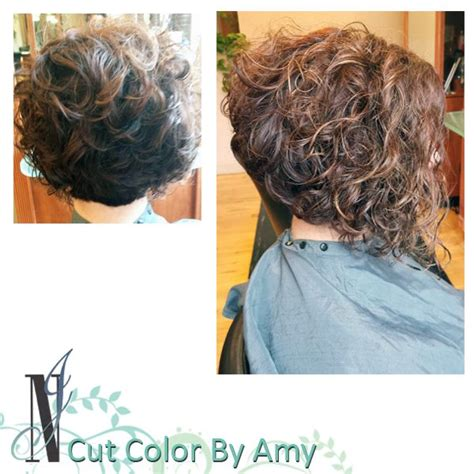 how to stlye a stacked bob with wavy hair haircut by amy curly hair style stacked bob haircuts