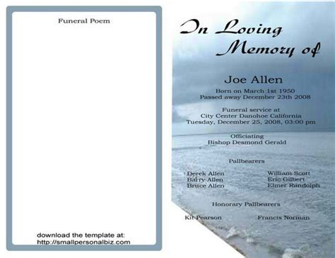 funeral service program template free funeral program templates find sle funeral