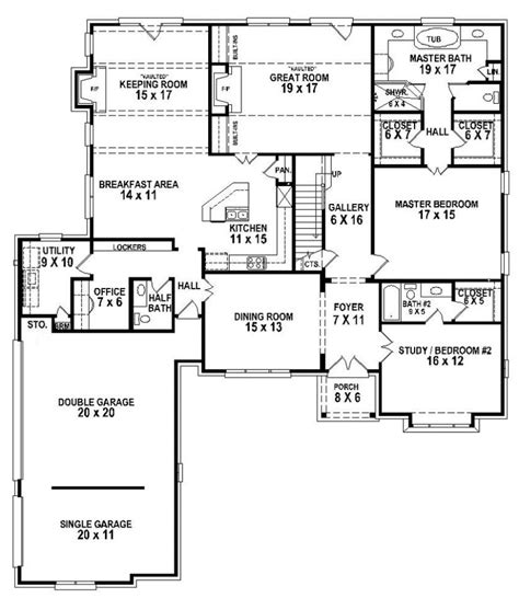 654263 5 Bedroom 4 5 Bath House Plan House Plans Floor Plans Home Plans Plan