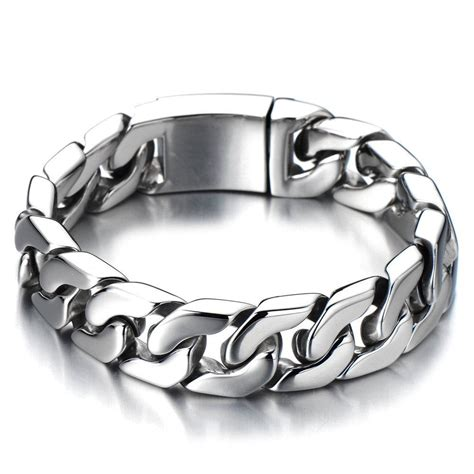 Cuban Chain Bracelet Men/ Stainless Steel Curb Chain Bracelet/Cool Mens Bracelet/Anniversary