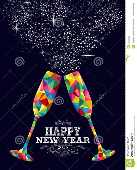 happy new year glassy design new year 2015 color glass greeting card stock vector