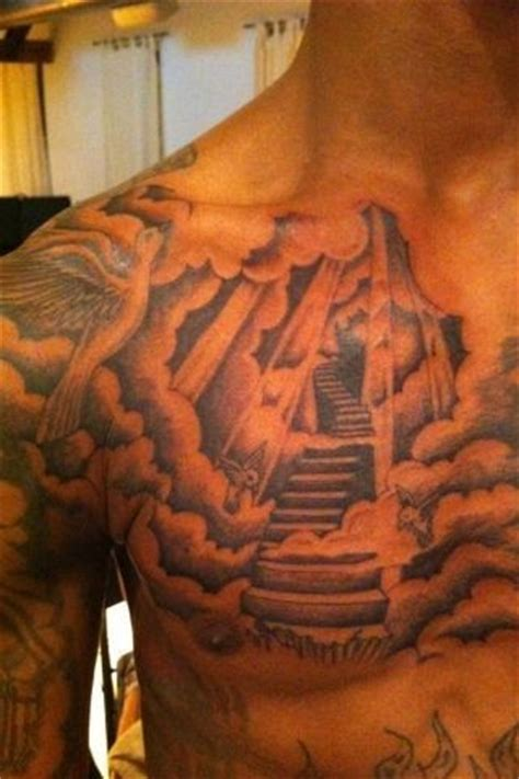 heaven tattoo mens chest stairway to heaven chest tattoos for