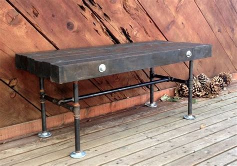 iron pipe bench 4x4 wood and iron pipe bench by northpeakindustrial on