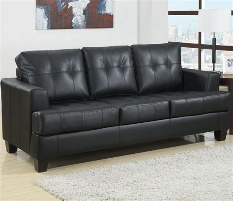 1125 45 Samuel Black Bonded Leather Sofa Sleeper Sofa Furniture Leather Sleeper Sofa