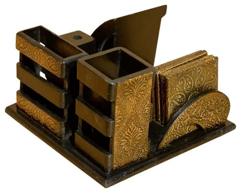 Golden Wood Brass Desk Top Organizer With Coasters Brass Desk Accessories