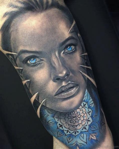 blue and pink portrait tattoo 50 mind blowing portrait tattoos on arm