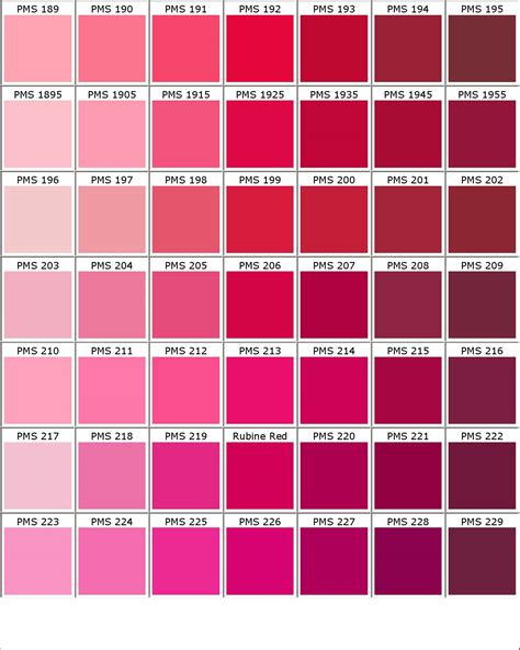 color chart shades of pink color names images