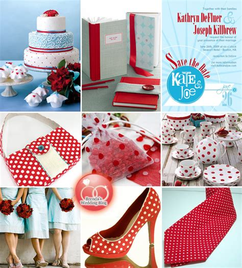 and aqua blue polka dot wedding