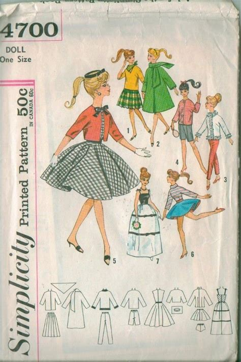 sewing patterns young fashion vintage 11 1 2 quot teen fashion doll clothes simplicity