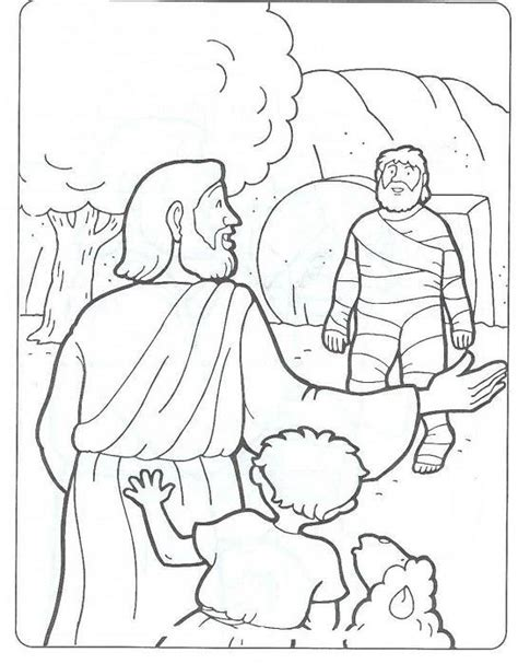 coloring page jesus and lazarus pin jesus raises lazarus coloring page pages on pinterest