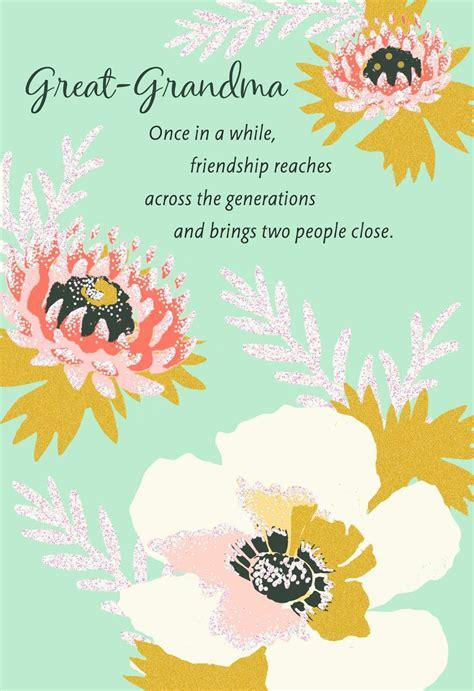 Pink Floral Birthday Card for Great Grandmother   Greeting