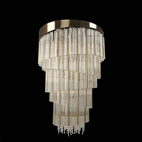 Brushed Gold Chandelier Allegri By Kalco Espirali Brushed Chagne Gold 15 Light Chandelier With Firenze Clear