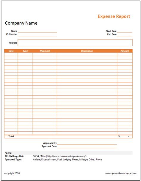 Simple Expense Report Template Spreadsheetshoppe Project Expense Report Template