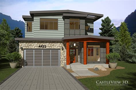 Flat Roof Garage Design exterior architectural renderings from castleview3d com