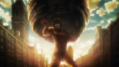 eren in his titan form holds the boulder in the way atlas