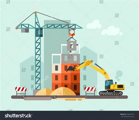 free house music sites construction site building house vector flat stock vector 258474791 shutterstock
