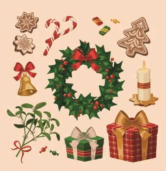 images of christmas objects 2014 christmas vintage objects vector 04 vector