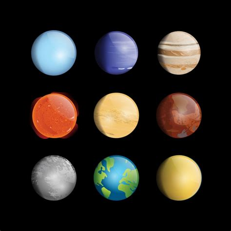 planet color coloured planets collection vector free