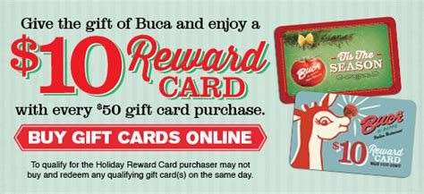 Buca Gift Card - buca gift cards come in multiple sizes and styles to fit everyone on your list blog