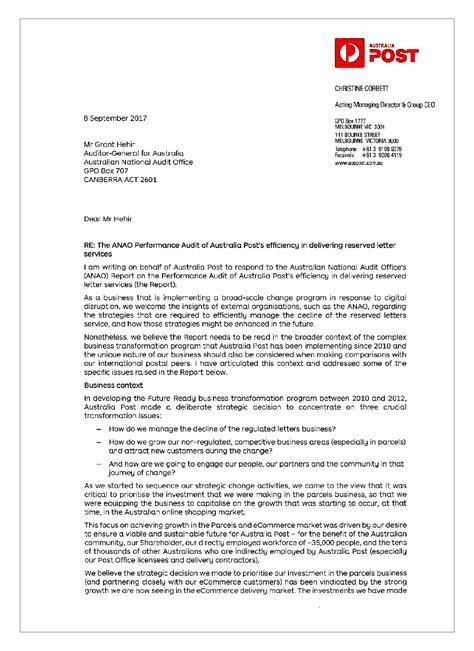 australia posts efficiency delivering reserved letter