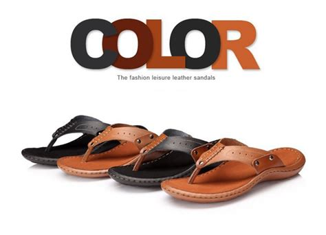comfortable leather flip flops buy mens summer cowhide slippers comfortable beach flip