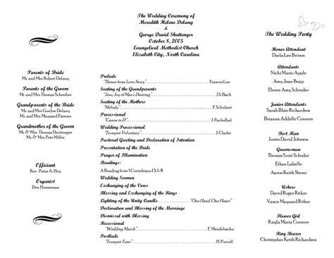 wedding ceremony itinerary template pin by laree on wedding wedding program