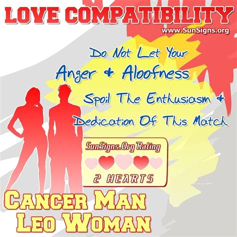 cancer man and leo woman love compatibility sun signs