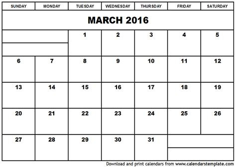 Calendar Printable 2016 March March 2016 Calendar Template