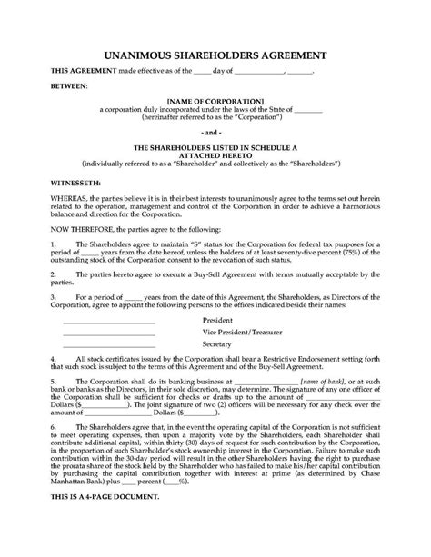 Shareholder Agreements Template Sletemplatess Sletemplatess Family Shareholders Agreement Template