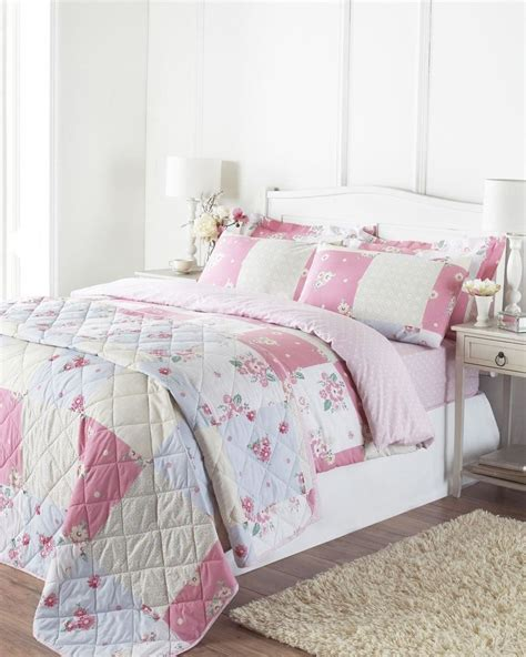 White Queen Duvet Cover Floral Daisy Super King Pink Green Patchwork Reversible