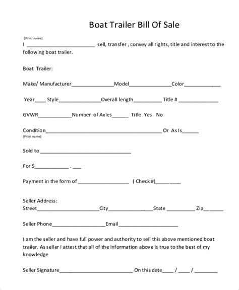 bill of sale template for trailer trailer bill of sale form 9 free documents in word pdf