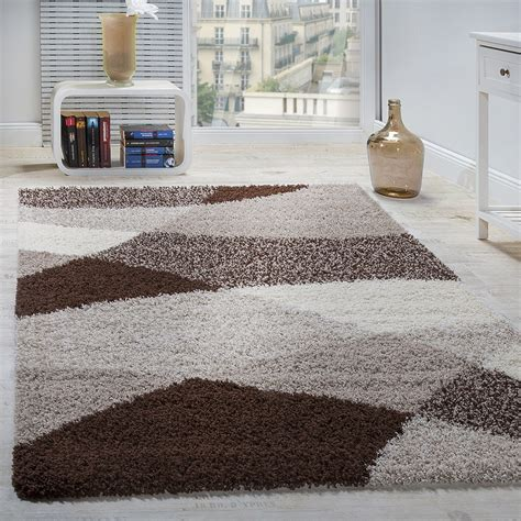 Teppiche 150x150 by Shaggy Carpet High Pile Pile Patterned In Grey Black