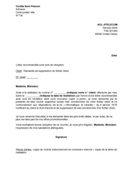 Exemple Lettre De Remerciement A Un Client Lettre De Demande De Suppression Du Fichier Client Aol Mod 232 Le De Lettre Gratuit Exemple De