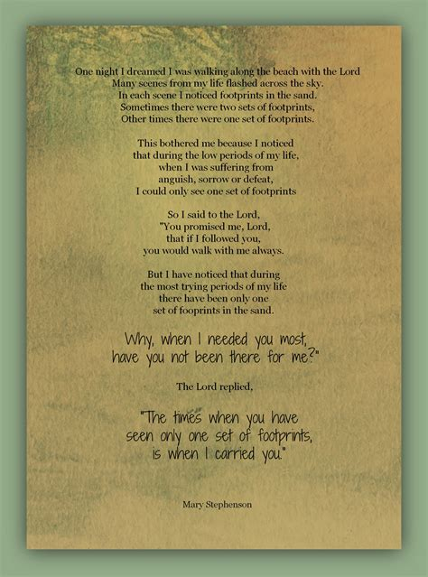 printable version footprints in the sand footprints poem printable version quotes