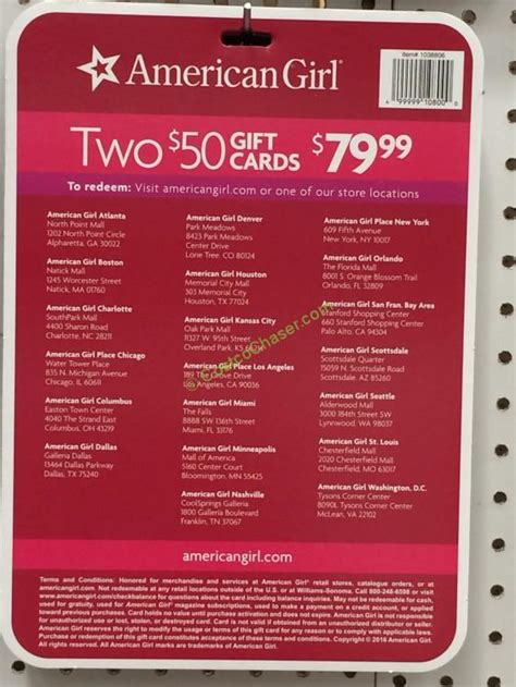 American Girl Gift Card Locations - american girl 2 50 gift cards costcochaser