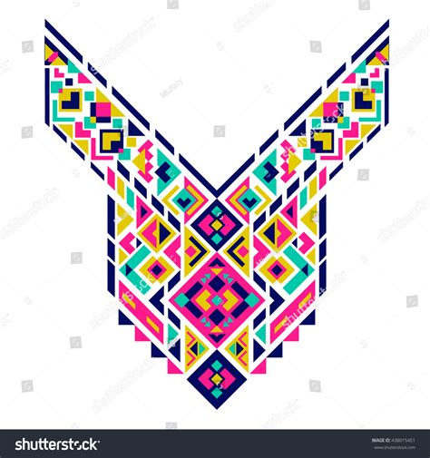 mexican pattern vector art geometric ethnic pattern mexican aztec neck stock vector