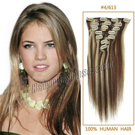 24 in human hair extensions 24 inch 4 613 clip in remy human hair extensions 9pcs