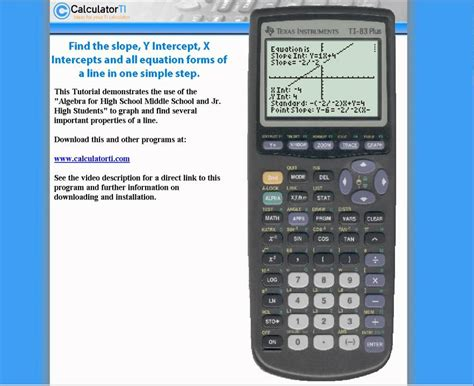 slope standard form calculator ti 83 plus slope y intercept x intercept standard