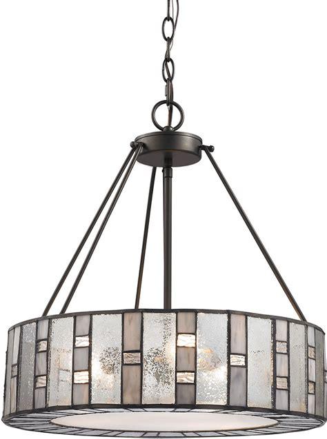 Elk 70212 3 Ethan Modern Tiffany Bronze Drum Hanging House Pendant Lighting