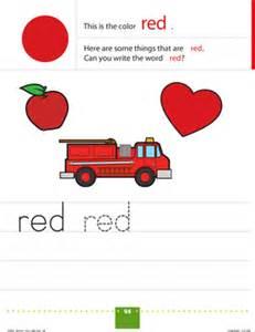 color recognition red worksheet education com