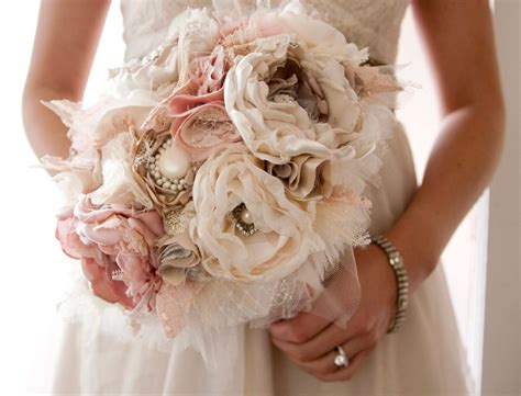 Handmade Wedding Bouquet - fabric flower custom wedding bouquet with rhinestone and