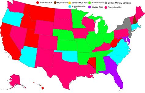 race map usa the most popular obstacle courses for each state map