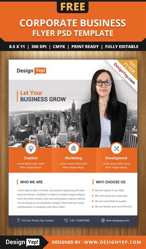 free corporate business flyer psd template designyep