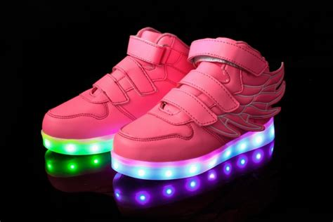 pink light up trainers shoes with wings affordable price