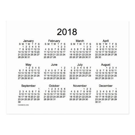 Calendar 2018 Black And White Black And White 2018 Mini Calendar Postcard Zazzle