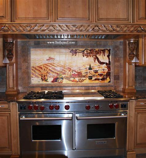 kitchen range backsplash the vineyard tile murals tuscan wine tiles kitchen backsplashes