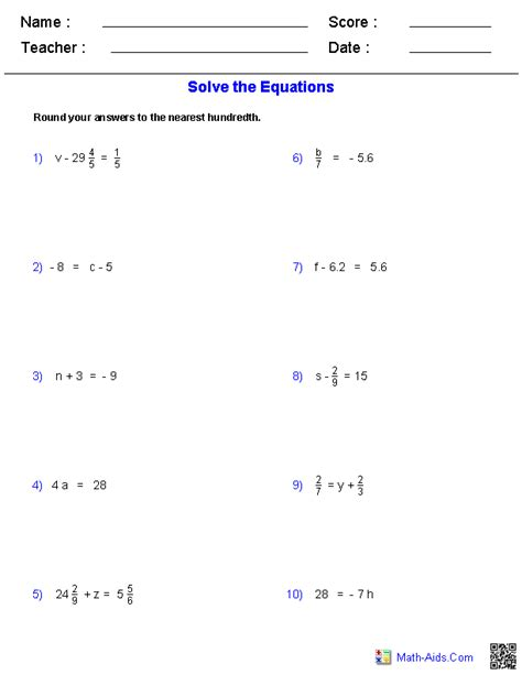 One Step Equations Worksheets by Algebra 1 Worksheets Equations Worksheets