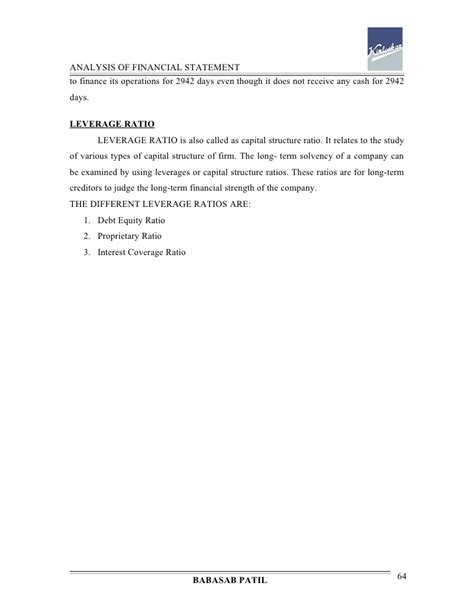 Mba Project Report On Financial Leverage by Analysis Of Financial Statement Kirloskar Project Report